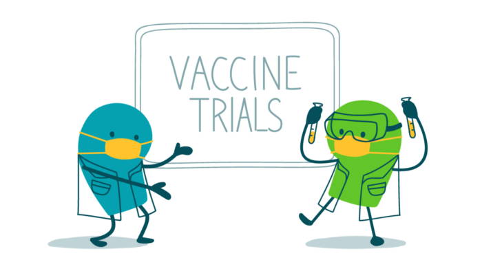 "Alt: Two scientist doodles wearing masks stand in front of a sign that says, ""Vaccine trials."" One of the doodles also wears goggles and holds up a pair of test tubes."