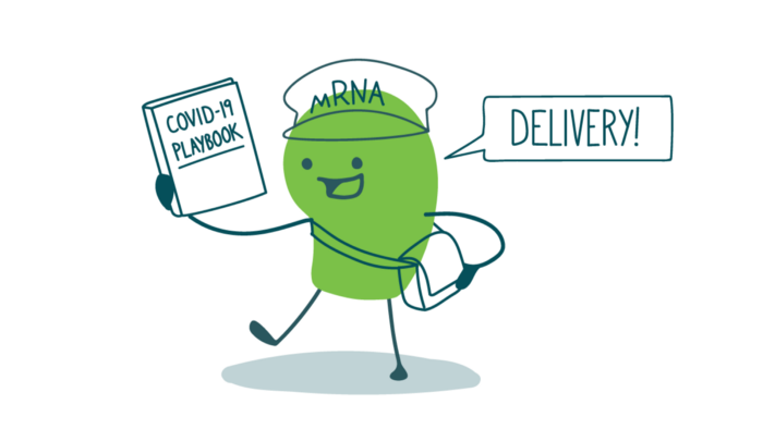 "A doodle wearing a messenger bag and a hat labeled ""mRNA"" holds up a COVID-19 playbook and says, ""Delivery!"""